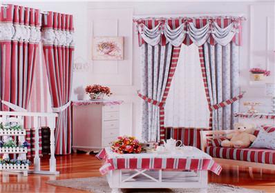 小碎花条纹图案卧室窗帘