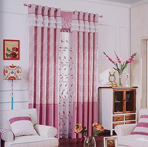 经典粉色卧室窗帘
