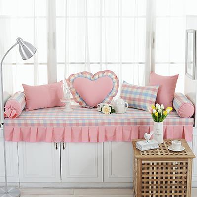 粉色格子飘窗垫