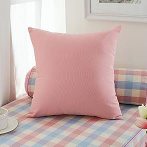 粉色纯色方形抱枕