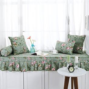 绿色碎花飘窗垫