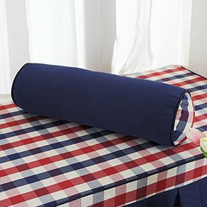 蓝色格子圆柱抱枕
