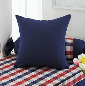蓝色纯色方形抱枕