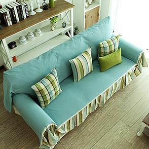 蓝色简洁风沙发巾