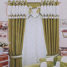 绿色雪尼尔卧室窗帘