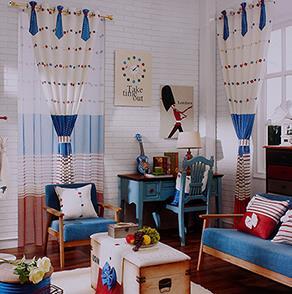 蓝色条纹儿童房窗帘