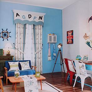卡通字母儿童房窗帘