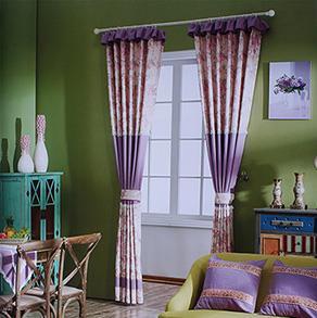 紫色印花拼接棉麻窗帘
