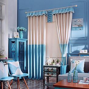 蓝白两色拼接窗帘