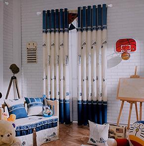 蓝色城堡卡通儿童房窗帘