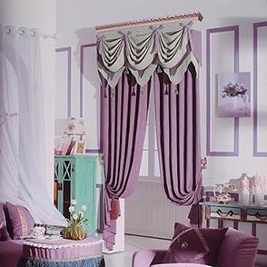 紫色棉麻卧室窗帘