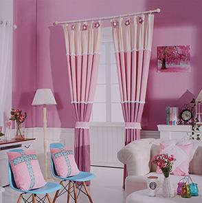 纯色三色拼接窗帘