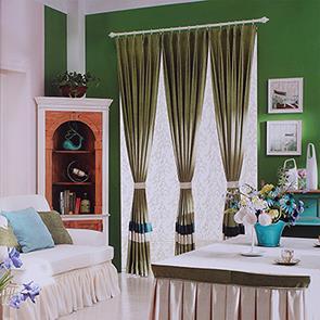 深绿色条纹拼接窗帘