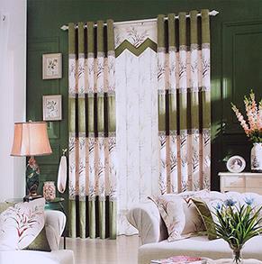 绿色印花卧室窗帘