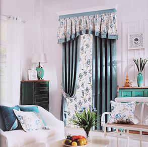 印花眉头蓝色卧室窗帘