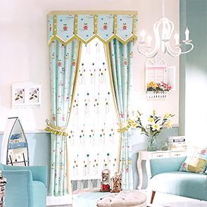 蓝色猫头鹰儿童房窗帘