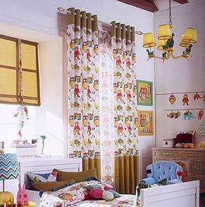 小熊图案卡通儿童房窗帘