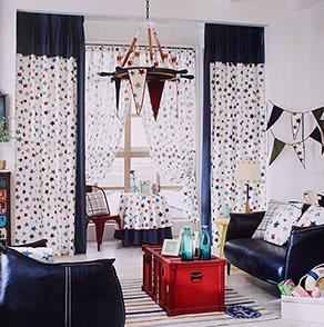 蓝色星星儿童房窗帘