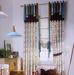 条纹印花拼接儿童房窗帘