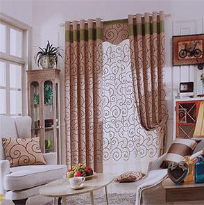 现代简约咖色拼接窗帘