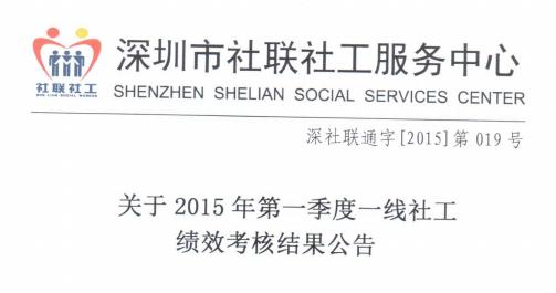 关于2015年第一季度一线社工绩效考核结果公告