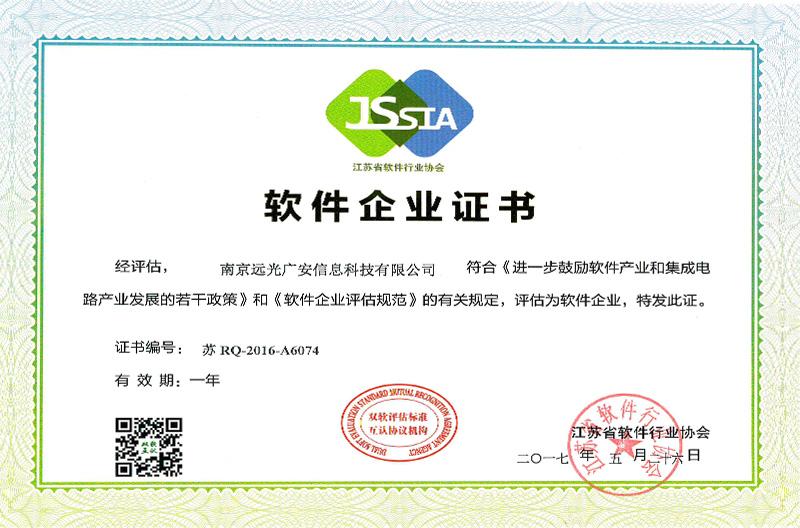 软件企业认定证书(17年新)