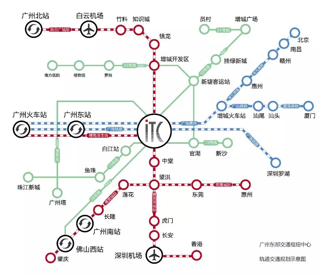 穗莞深城际新塘站正式挂牌,九轨交汇ITC执掌湾区未来!
