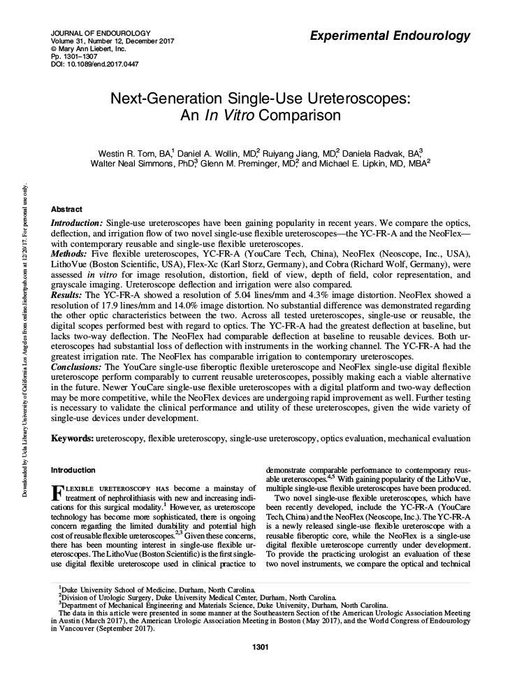 Next-Generation Single-Use Ureteroscopes: An In Vitro Comparison
