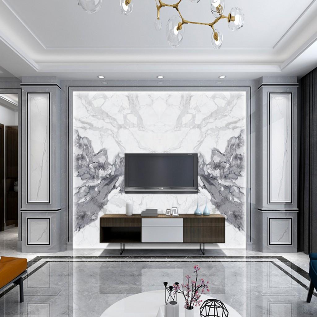 电视背景墙石材现代简约客厅石材边框装饰造型石材护墙板陶瓷大板背景墙