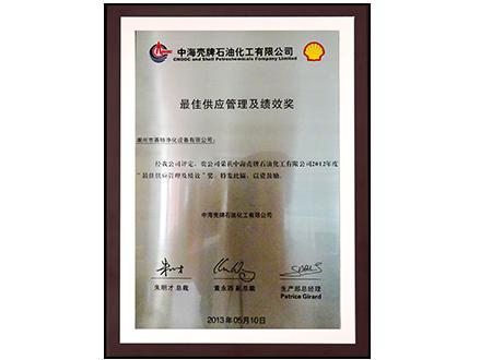 2013年最佳供应管理及绩效奖