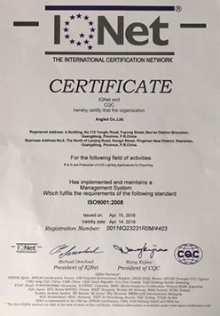 ISO9001英文版IQNET证书