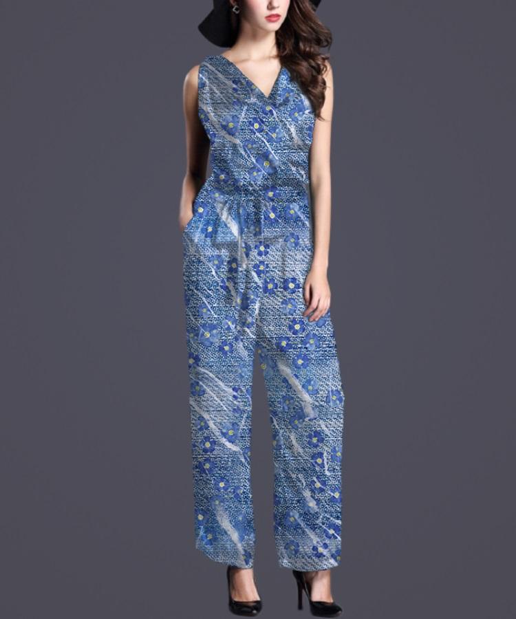 蓝底布纹装饰碎花