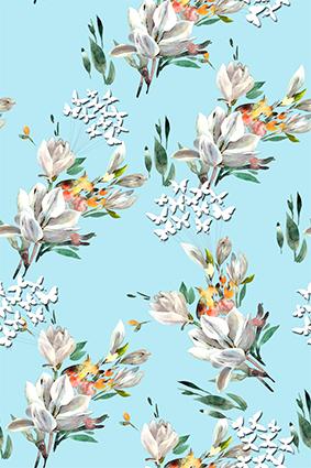 浅青浮雕效果花卉