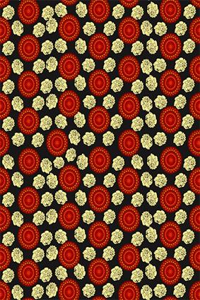红色圆窗矢量花朵