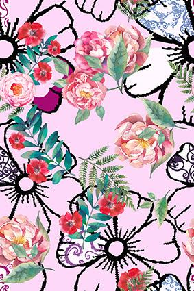 手绘绿叶粉嫩花朵