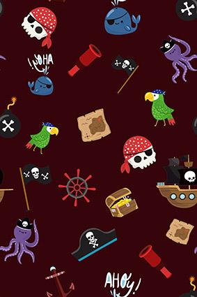 枣红底卡通海底动物