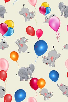 可爱大象渐变多色气球