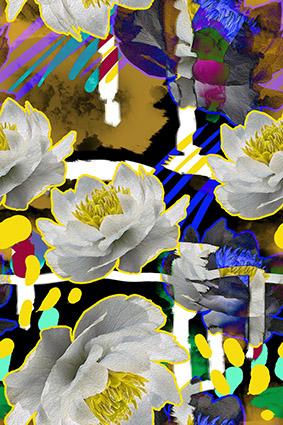 描边水彩颜料花卉