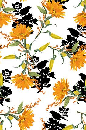 橘色黄花矢量花卉