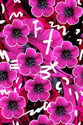 时尚绚丽叶脉花朵