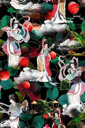 桃子美女绿色花型