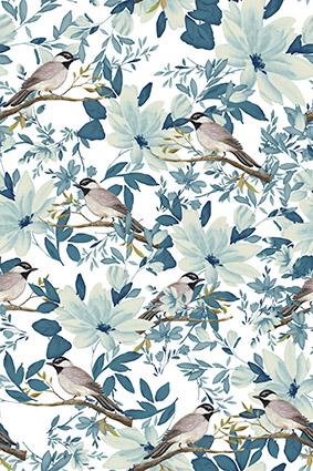 淡雅枝叶植物小鸟