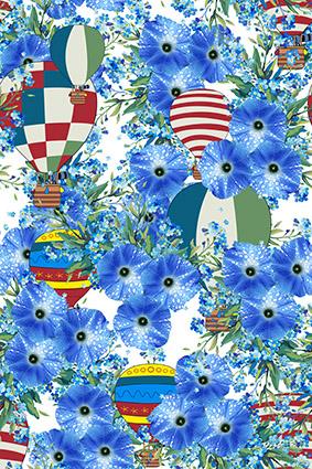 雨露气球蓝色花卉