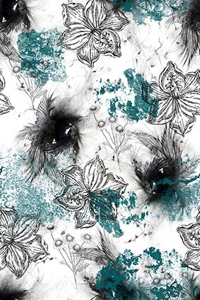 黑白素描植物花