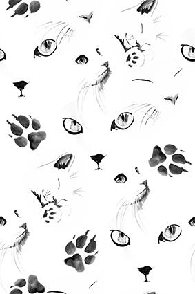 水墨可爱猫咪脚印