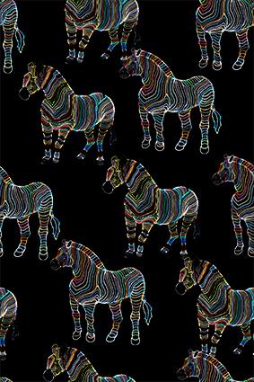 炫彩线条素描斑马