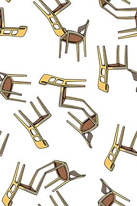 矢量卡通原木板凳