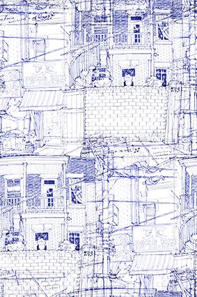 素描瓦砖线条房屋