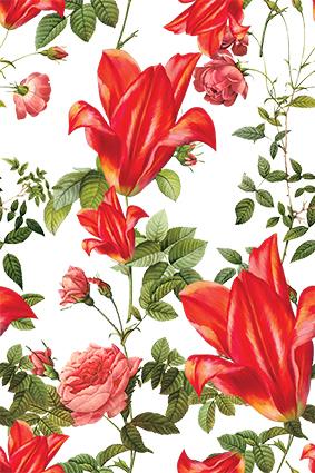 元素植物绿叶红花