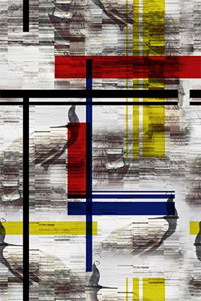叠加色块抽象孔雀羽毛